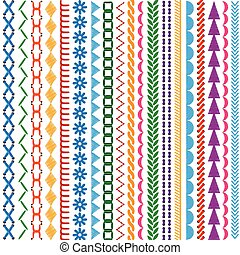 Embroidery stitches vector seamless patterns and borders set