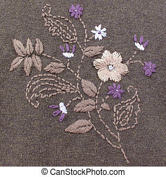 Embroidery - Floral embroidery in subtle color