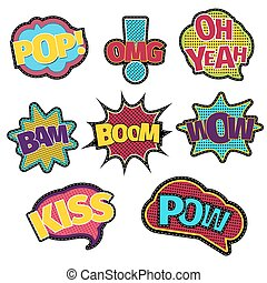 Embroidery text patches. Trendy fashion stitching sewing comic book speech bubble