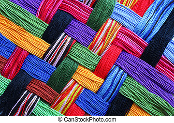 Embroidery threads - Colorful lattice patterns made of...