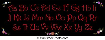 Embroidery vintage alphabet font typeface set. Embroidered English latin letters for textile fashion print inscription patch. Red stitch on black background. Flower decoration vector illustration