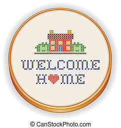 Embroidery, Welcome Home - Retro wood embroidery hoop with...