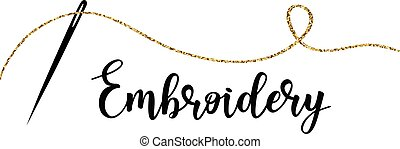 Embroidery with needle. Vector hand made symbol in trendy line style.
