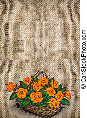 Embroidery with yellow roses