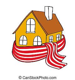 embrulhado, casa, echarpe