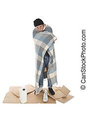 embrulhado, cobertor, desabrigado