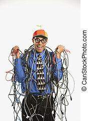 embrulhado, homem, cables.
