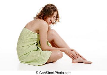 embrulhado, mulher, toalha