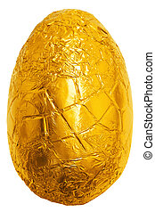 embrulhado, ovo, folha, páscoa, ouro