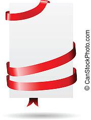 embrulhado, papel, fita, vermelho, em branco