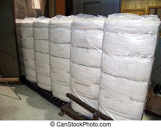 embrulhado, plástico, fardos, algodão