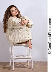 embrulhado, suéter, mulher, cima, triste
