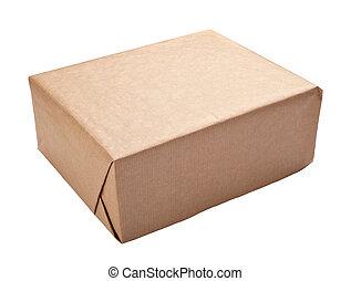 embrulhando, caixa, recipiente, pacote