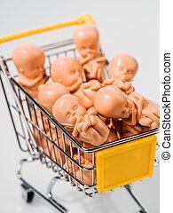 embryo, model., foetus, symbolizing, genetische techniek,...