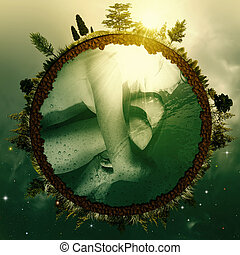 embryon, résumé, arrière-plans, ambiant, conception, earth., ton
