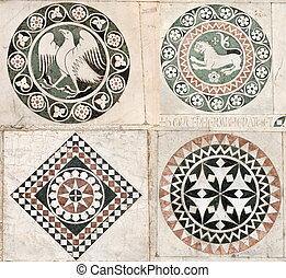 embutido, gótico, mármol, ornamentos