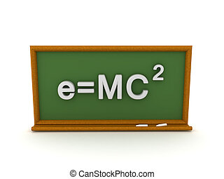 e=mc2, ábra, írott, zöld chalkboard, 3