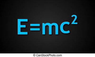 E=mc2 Albert Einsteins physical formula are on black...