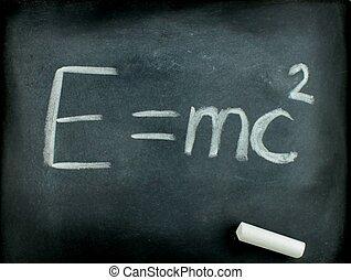 E=mc2, Albert Einsteins physical formula on blackboard