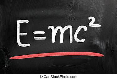 e=mc2, met de hand geschreven, met, krijt, op, een, bord