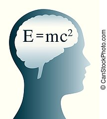e=mc2, tête, silhouette, cerveau, einstein, formule