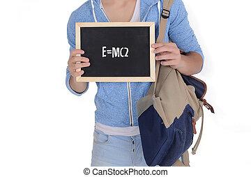 """""""e=mc2"""", texte, jeune, tableau, tenue, homme"""