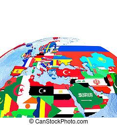 emea, région, sur, politique, globe, à, drapeaux