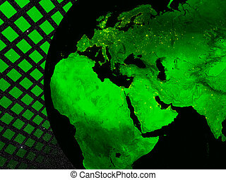 Europe, Middle East and Africa region technology concept. Elements of this image furnished by NASA.