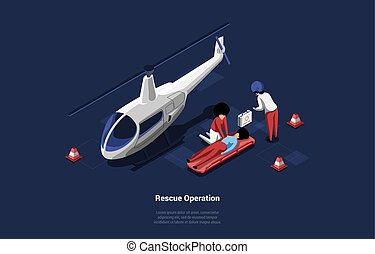 Emegrency Healthcare Rescue Operation Of Person Lying On Ground. Vector Illustration In Cartoon 3D Style. Isometric Composition With Helicopter And First Aid Team. Lifesaver People Healing Wounded