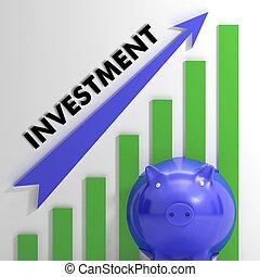 emelés, befektetés, diagram, kiállítás, gyarapított,...