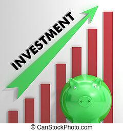emelés, befektetés, diagram, látszik, előmenetel