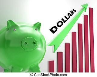emelés, dollárok, usd usd, diagram, kiállítás, amerikai, állami jövedelem