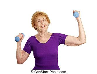 emelés, idősebb ember, -, tréning, súly