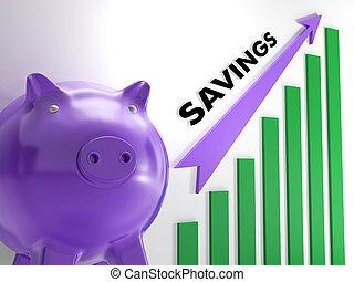 emelés, megtakarítás, diagram, látszik, pénzbeli, növekedés