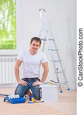 emelet, íme, sittin, festmény, fiatal, eszközök, szobafestő, ember