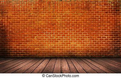 emelet, fal, erdő, háttér, tégla, piros