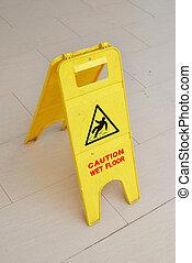 emelet, figyelmeztet cégtábla, nedves