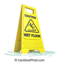 emelet, sárga cégtábla, figyelmeztet, nedves, csúszós, 3