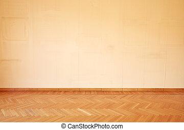 emelet, szoba, belső, üres, öreg, fából való