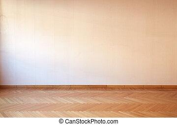 emelet, szoba, szoba, belső, üres, fából való