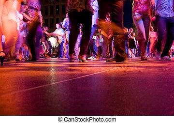 emelet, táncol, mozgalom