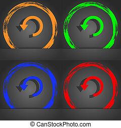 emelkedő, nyíl, korszerűsíteni, ikon, jelkép., elegáns, modern, style., alatt, a, narancs, zöld, kék, zöld, design.