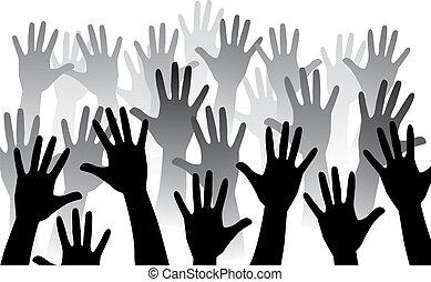emelkedik, kéz