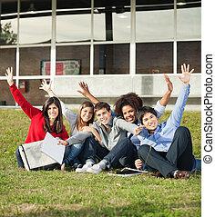 emelt, ülés, diákok, főiskola, kézbesít, egyetem területe