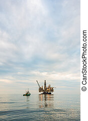 emelvény, olaj, csendes, tenger, ruha