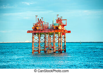 emelvény, olaj fúrás, part felől