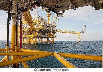 emelvény, olaj, gáz, öböl