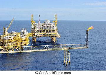 emelvény, olaj, gáz, part felől