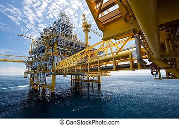 emelvény, olaj, gáz, vagy, part felől