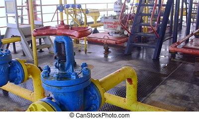 emelvény, termelés, gáz, part felől, berendezések